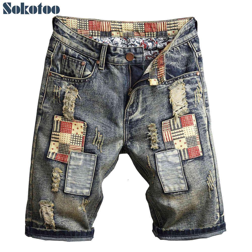 Jeans da uomo Sokotoo Uomo Uomo Summer Patchwork Strappato Pantaloncini Plus Size Ginocchio Lunghezza del ginocchio Patch Design Fori Jeans Denim in difficoltà