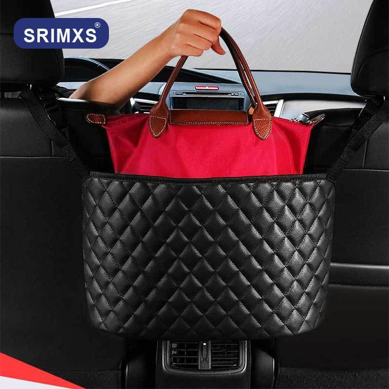 Car Organizer PU Leather Storage Bag Handbag Holder Multifunction Container Stowing Tidying Auto