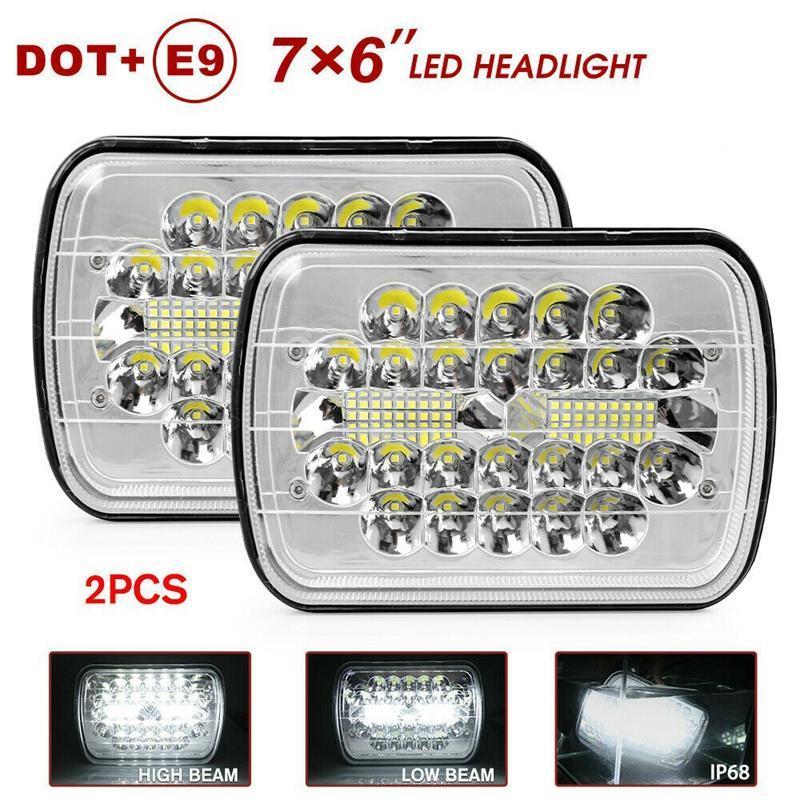 1 Pair 150 W 5x7 inç 7x6 LED Farlar Hi-Lo Işın Crystal Clear Contaged Kamyon Çalışma Işığı için