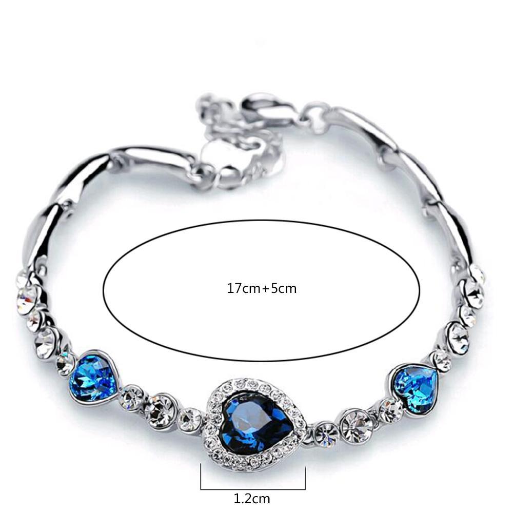 Hottest Womens Senhoras Cristal Rhinestone Bangle Ocean Blue Bracelet Chain Chair Jóias Festa Presentes
