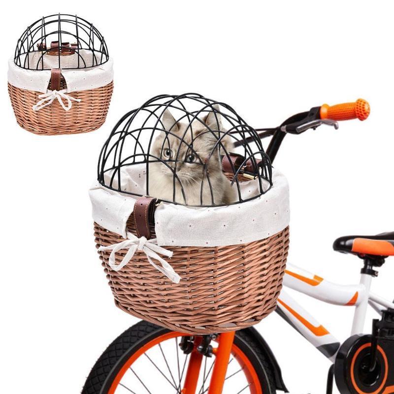 ПЭТ-поставки сплетенные велосипед корзины передняя руля плетеный велосипед маленький для несущих взрослых мальчиков девочек кошка сумка щенков, ящики Дома