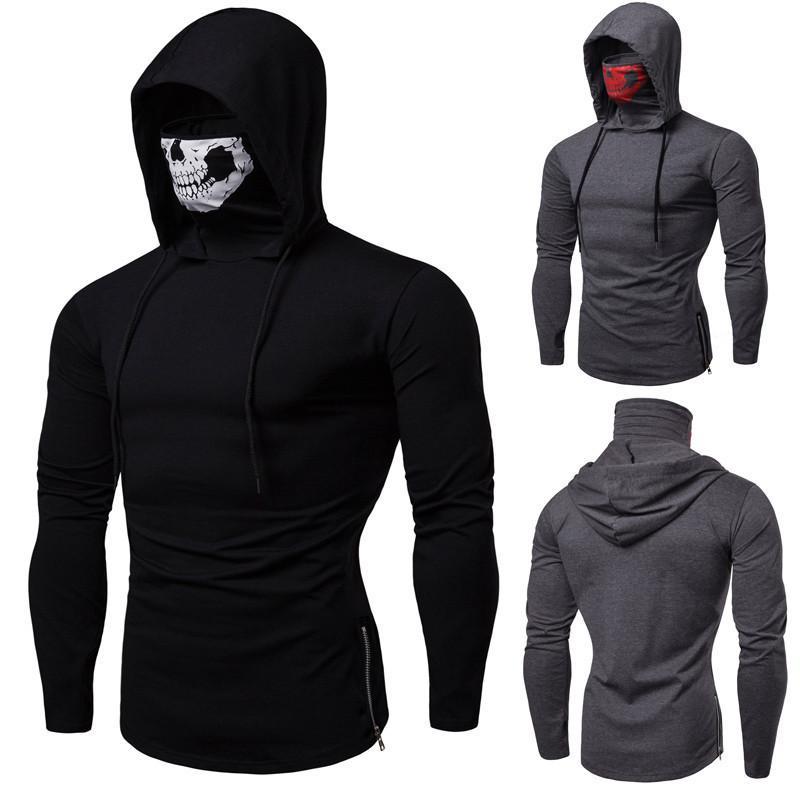 2019 mens designer t shirts herren winter neue einzelne pullover personalität spiel hoodies schädel druck hohe kragen langarm wgwy190