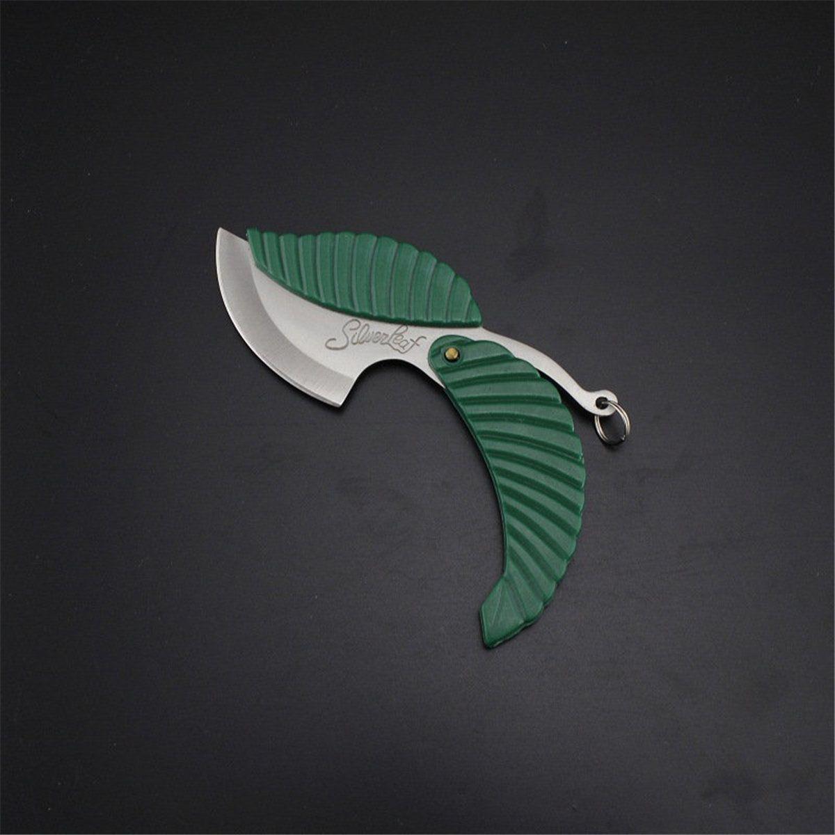 1pcs Green Mini Fold Leaf Shape Pocket Knife Folding Car-styling Keychain Outdoor Camp Knifes Camping Hiking Survival Tool