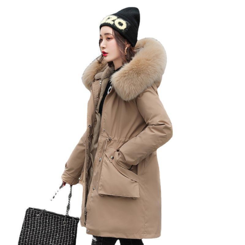 Kadın Aşağı Parkas Kadınlar Kış Kapüşonlu Faux Kürk Yaka Ayrılabilir Astar Uzun Ceket Kirpi Ceket Pamuk Yastıklı Sıcak Dış Giyim Palto