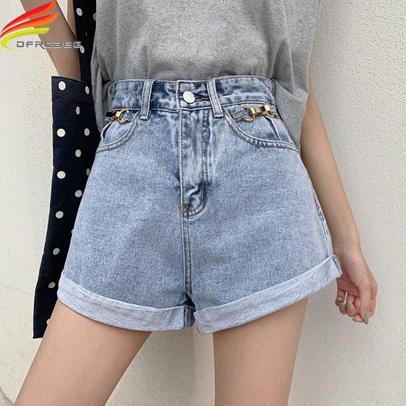 Шорты летние женские джинсовые джинсовые с высокой талией широкой ноги свободные обжимные небесно-голубые уличные стиль блестения джинсов