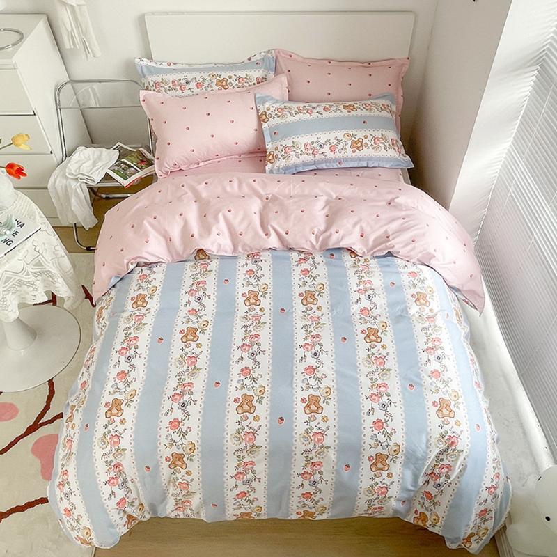 Bedding Sets Single Double Queen Family Duvet Cover+ Flat Sheet + Pillowcase Home Textile Set