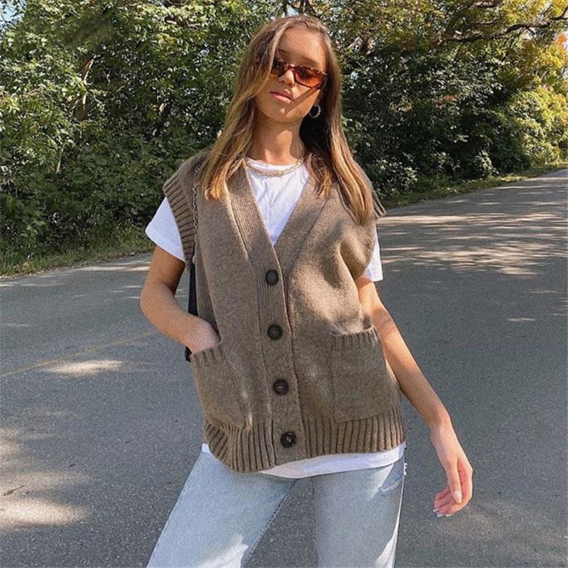 Costume décontracté automne hiver ensembles chandail tricots et shorts femmes surdimensionnées cardigan top femmes femmes gilet sans manches poche lâche tricoté