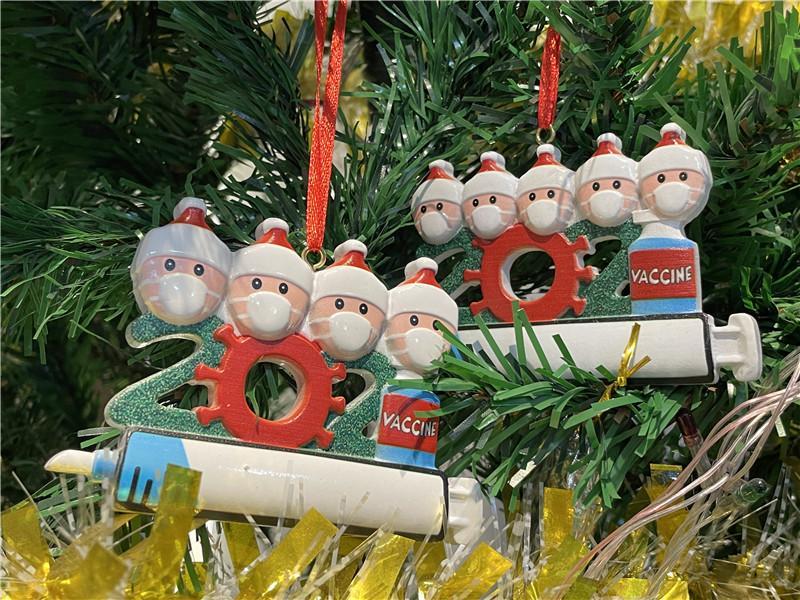 2021 زخرفة عيد الميلاد مع حقنة الديكور داخلي شجرة عيد الميلاد قلادة 1-9 شخص الراتنج الحلي diy اسم العائلة