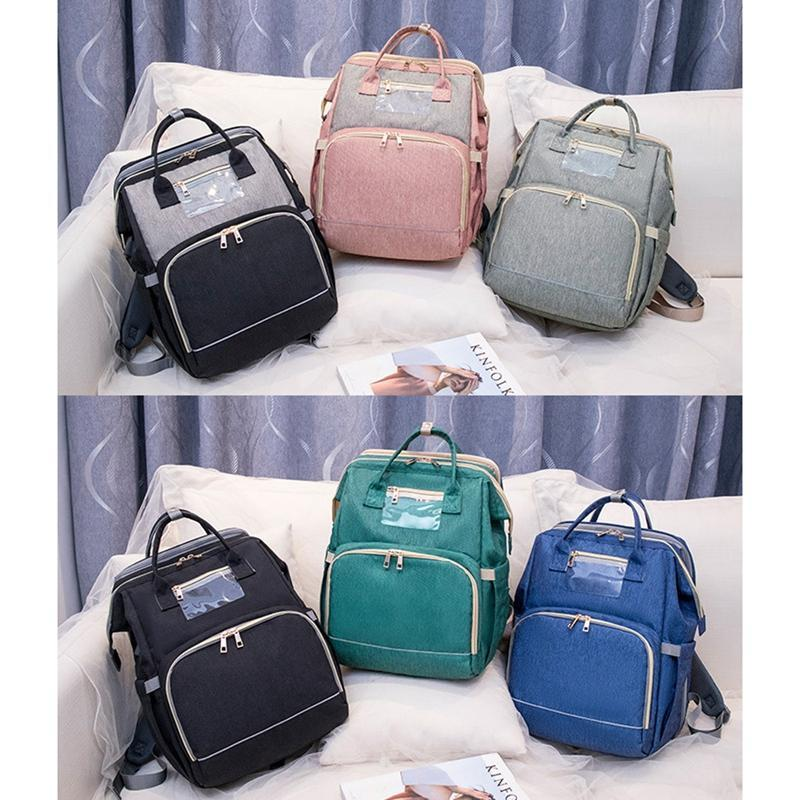 Bolsas de pañales Travel-Style Waterproof Cuna Bag Mochila Cuna, carga USB