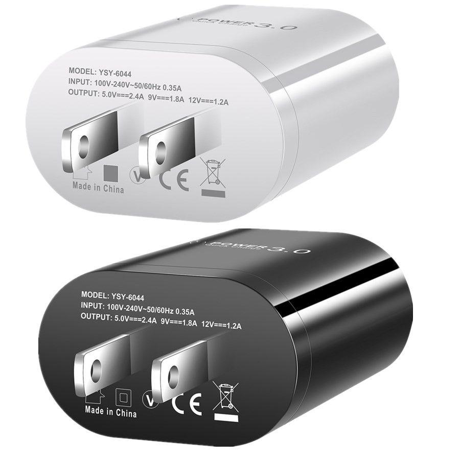 QC3.0 محول الطاقة EU US AC شاحن سفر سفر المنزل لآيفون 7 8 زائد 11 XR Samsung S20 ملاحظة 10 HTC