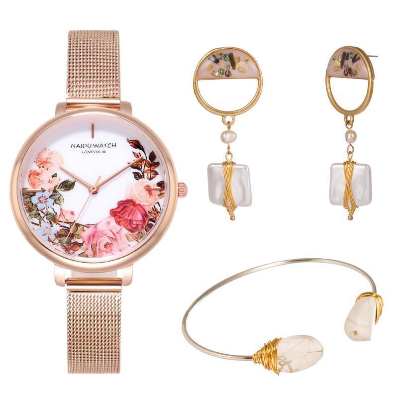 Wristwatches Fashion 3pcs Set Women Watches Luxury Printed Mesh Belt Rhinestone Watch Ladies Quartz Wrist Bracelet