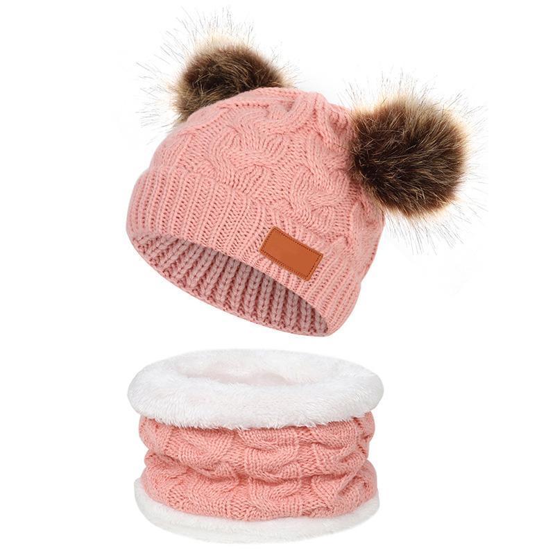 Caps Hats 2 шт. / Установите детскую шляпу с шарфом теплые осень зима дети девочка мальчик шансы шапки шарфы Помпам вязание крючком детский капот