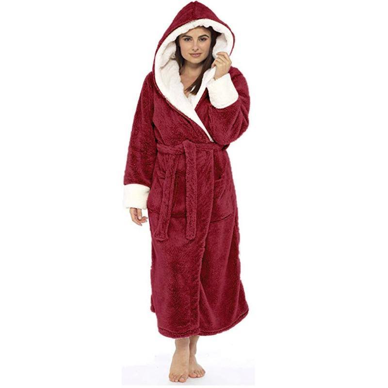 Kadın Pijama Tanımlanmamış Kadın Bornoz Kış Peluş Uzatılmış Şal Ev Giysileri Uzun Kollu Robe Coat Artı Boyutu Sıcak