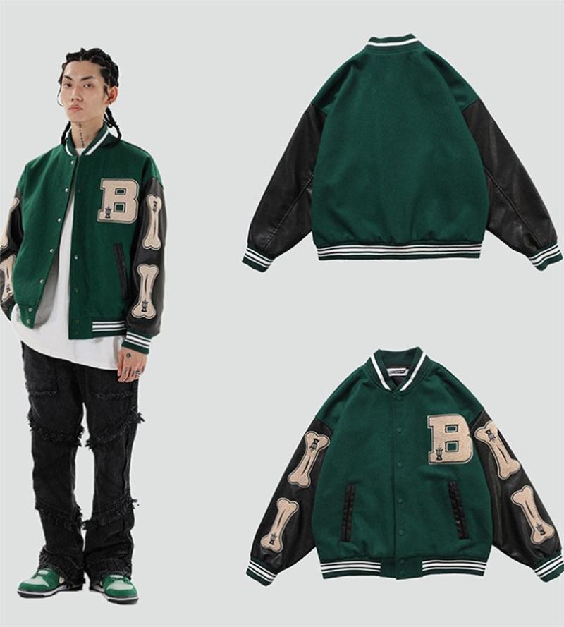 Jaquetas masculinas 2021 Hip Hop Furry Osso Patchwork Cor Blocos Mens Harajuku Estilo Colégio Bomber Jaqueta Homens Baseball Casacos 3