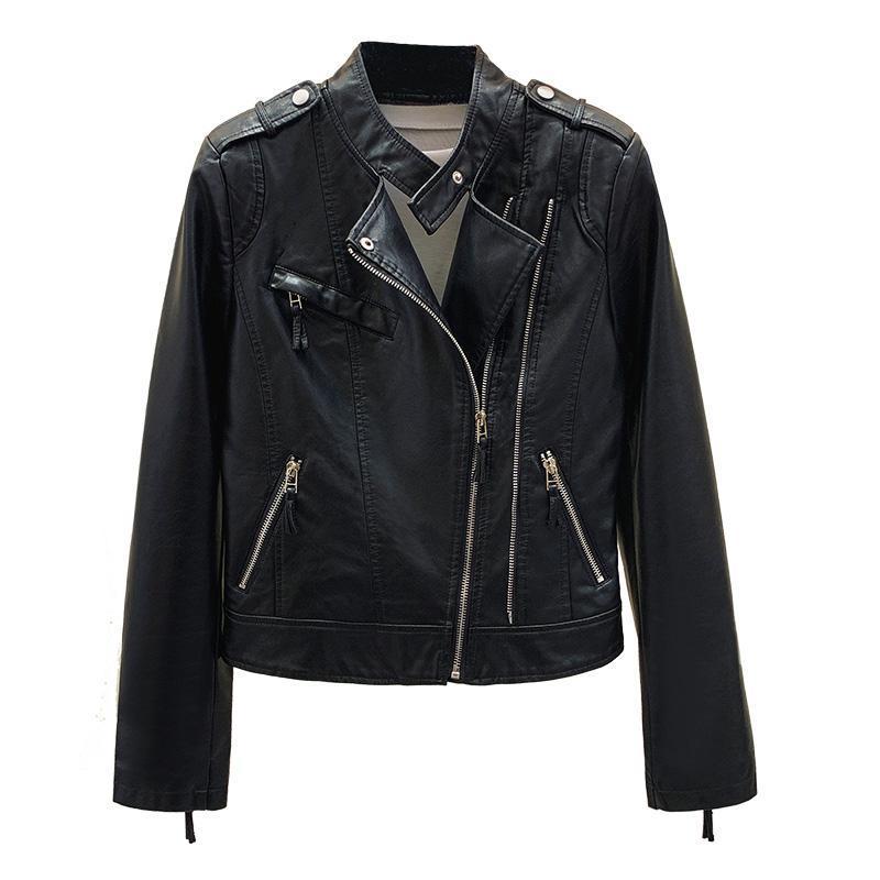 Women's Leather & Faux 2021 Spring Fashion Jacket For Women Black Punk Jackets Slim Motorcycle Biker Zipper Coats Short
