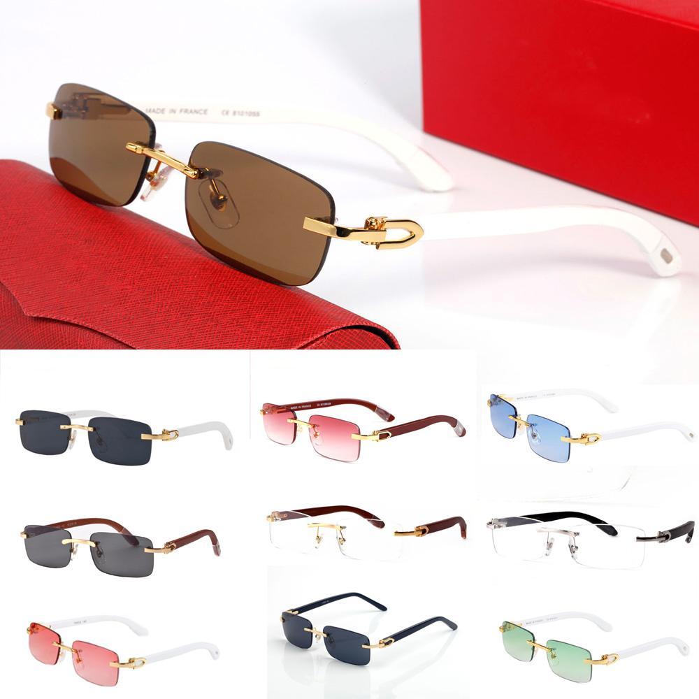 Nouveaux Lunettes de soleil Buffalo Horn Lunettes de soleil Mode Sport Sun Lunettes pour hommes Femmes Femmes Rectangle Bamboo Boue-lunettes Beewear avec boîtes Case Lunettes Gafas