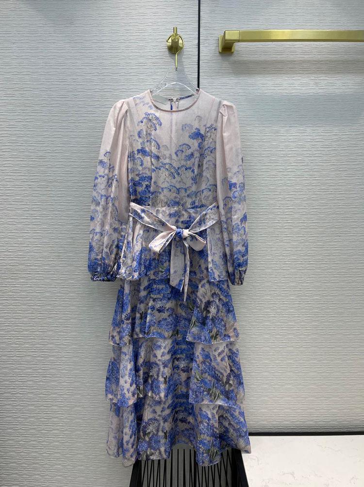 Milan pist elbiseler 2021 O boyun baskı panelli kadın tasarımcı elbise markası aynı stil etekler 0426-8