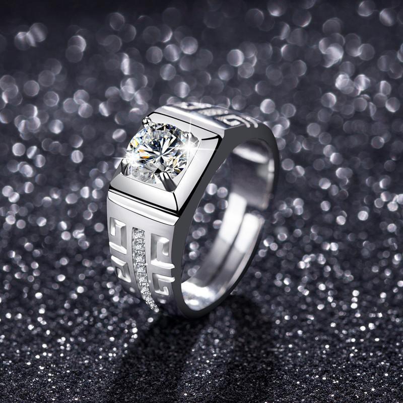 2021 Herren Reine Gold Platinum Diamant Solitaire Ring Öffnung Einstellbar Full Cubic Zirkonia Hochzeit Paar Geschenk für Männer Liebhaber Freund Schmuck