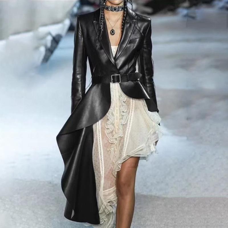 Female 2021 Fashion Autumn Black PU Leather Women's Irregular Trench Lapel Collar With Belts Hem Windbreaker Suits & Blazers