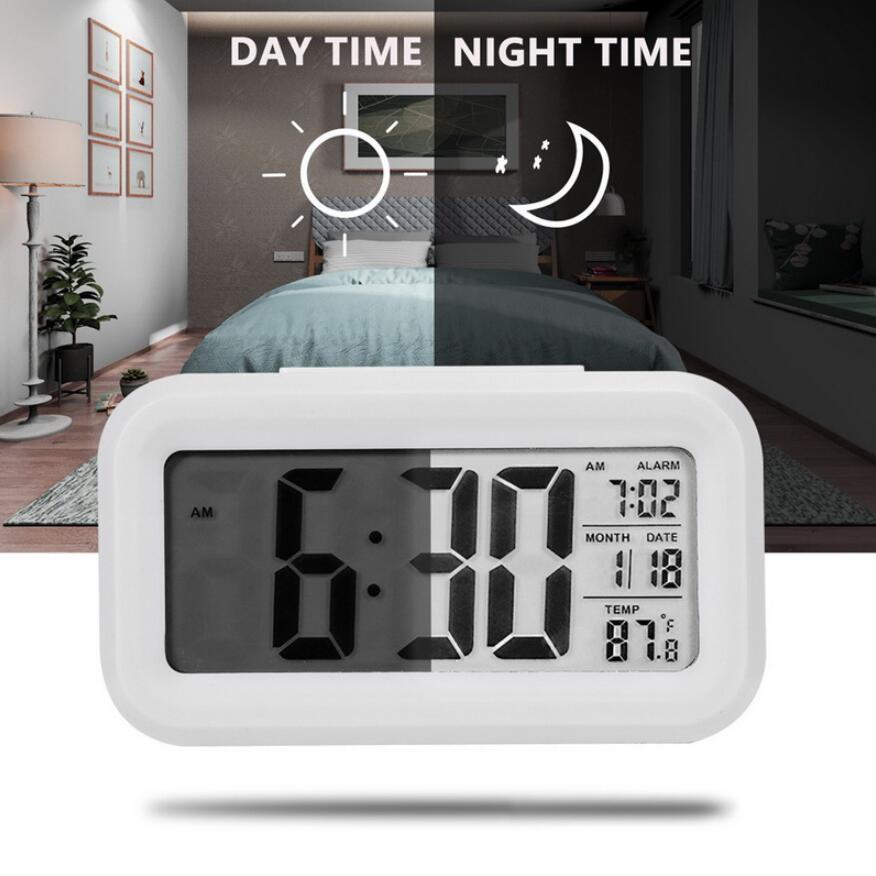 Светодиодный цифровой будильник Электронные часы Smart Mute Backlight Дисплей Температура Календарь Snooze Функция Будильник RRD6922