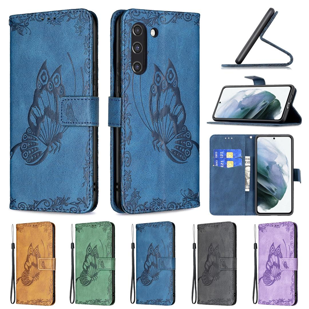 Retro Print Butterfly Flower Wallet Leather Cases For Samsung S21 FE Ultra A52 A72 A02s A32 A12 A42 A51 A71 S20 A02 A21 A11 A31 Credit ID Card Slots Holder Flip Cover