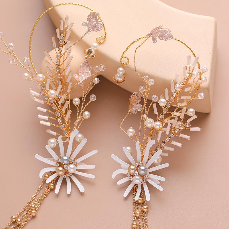 Korean Style Exquisite Tassel Bridal Hair Band Earrings Set Pearl Golden Headband Ear Hanging Wedding Gown Dress Jewelry Women