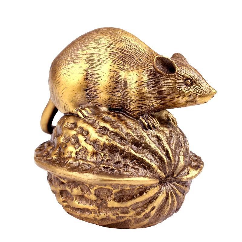 MGTRetro creative walnut rat zodiac decoration home decoration crafts cute symbol beautiful animal decoration