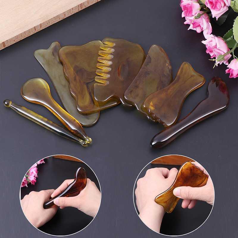 Neue Natürliche Jade Guasha Kratzer Massage Schaber Gua Sha Board Harz Acupoint Face Eye Care SPA Massage Gesicht Massager