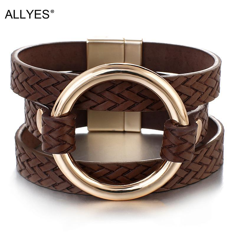 Tennis ALLYES Multilayer Braided Leather Bracelets For Woman Circle Charm Round Wide Wrap Bracelet Fashion Statement Female Jewelry
