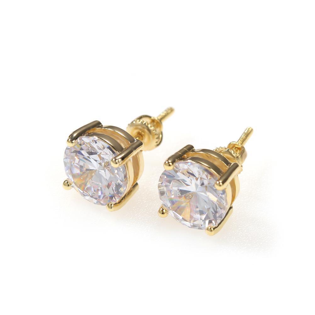 망 힙합 스터드 귀걸이 쥬얼리 고품질 패션 라운드 골드 실버 남성을위한 다이아몬드 귀걸이