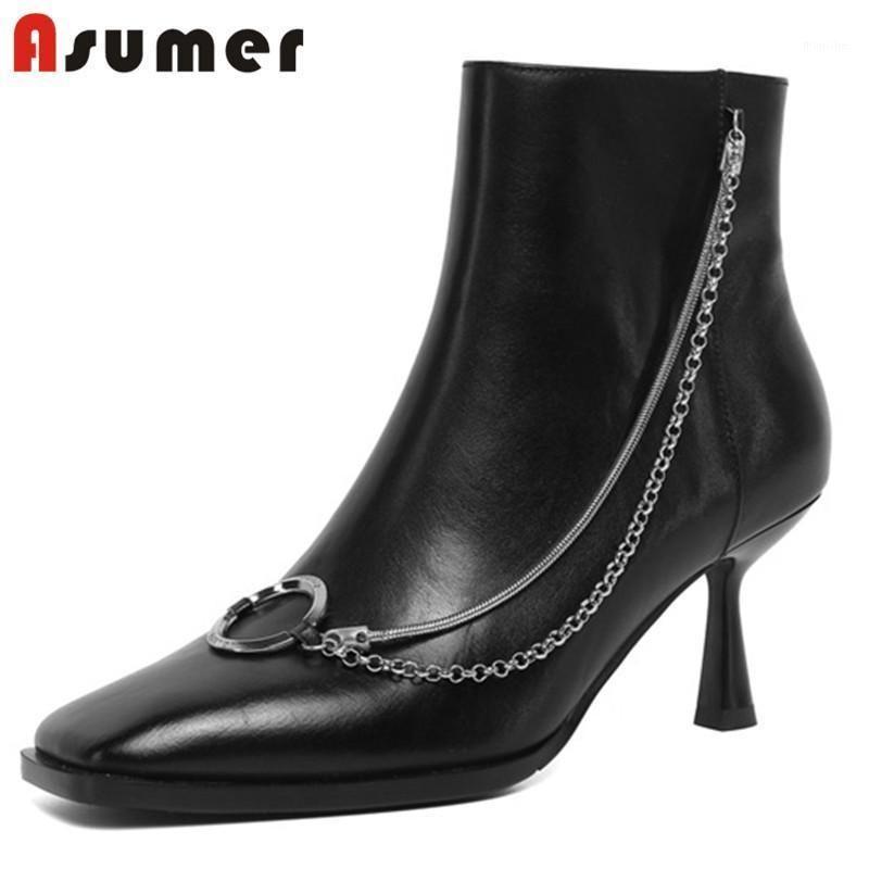 Asumer Hakiki Deri Ayakkabı 2021 Yeni Ayak Bileği Çizmeler Kadın Kare Toe Zincir Ince Yüksek Topuk Parti Düğün Ayakkabı Bayanlar Boots1