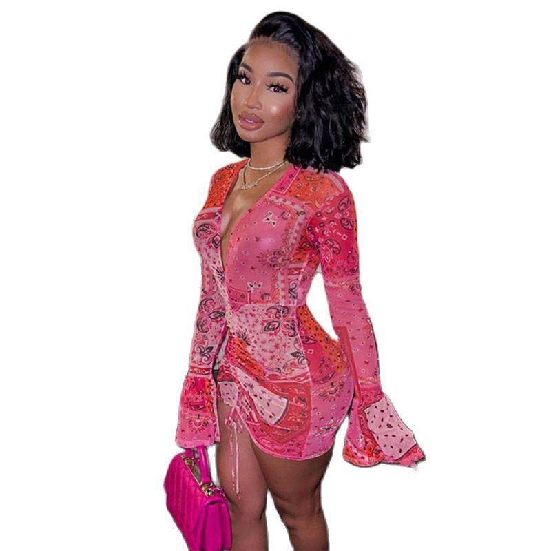 Rosa Bandana Mesh Bodyocn Vestido Dress Club Roupas para mulheres queimadas manga comprida profunda v pescoço desenhar corda mini vestidos casuais