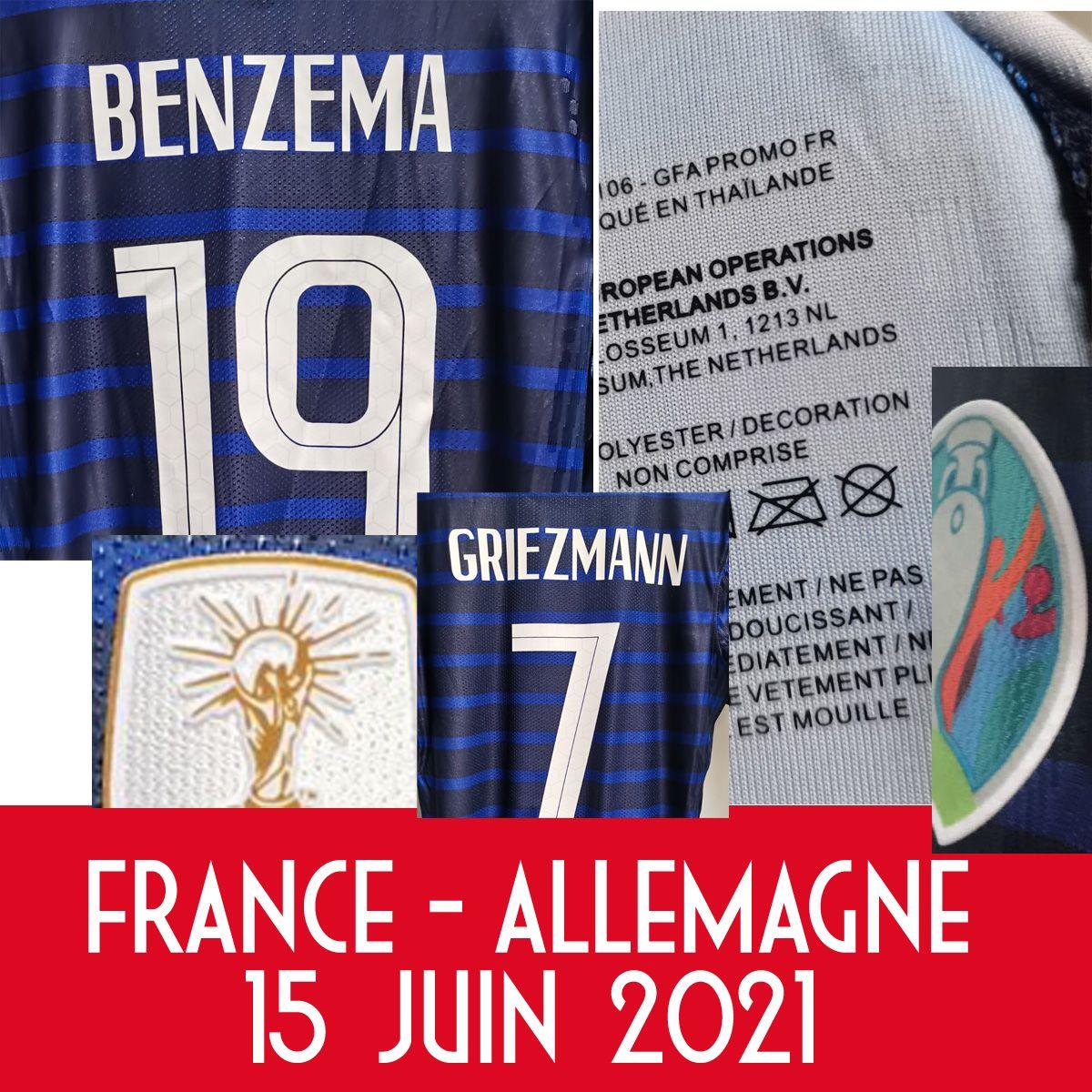 American College Football 2021 Match Worn Playe Edição Benzema Maillot vs Allemagne Grisezmann Pogba Kante Giroud com Jogo MatchDetails Jersey