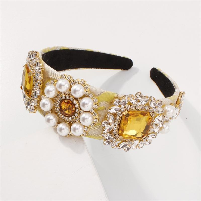 Tela de moda Rhinestone Headband Temperament Imation Pearl Decorated Headwear para Giift Multiusped Fairy Lady Accesorios para el cabello