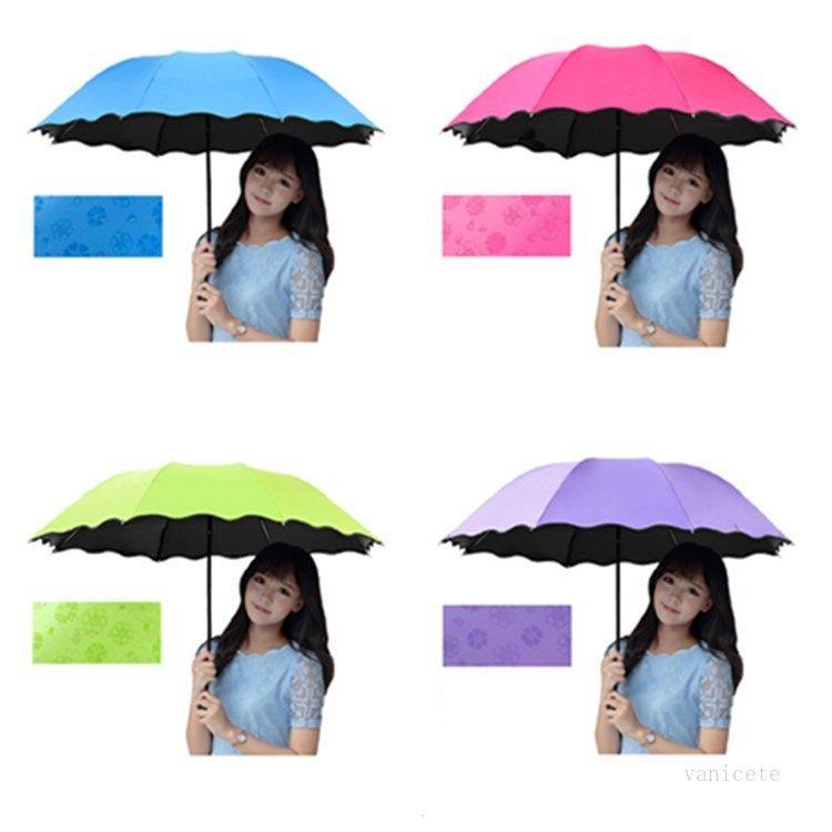 3-Folded Dustproof Anti-UV Umbrella Sunshade Umbrella Magic Flower Dome Sunscreen Portable Umbrellas T2I52165