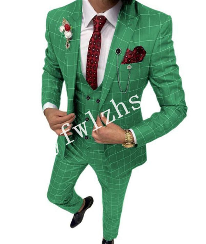 Yakışıklı Tek Düğme Groomsmen Tepe Yaka Damat Smokin Erkekler Düğün Takım Elbise / Balo / Yemeği Adam Blazer (Ceket + Pantolon + Kravat + Yelek) W881