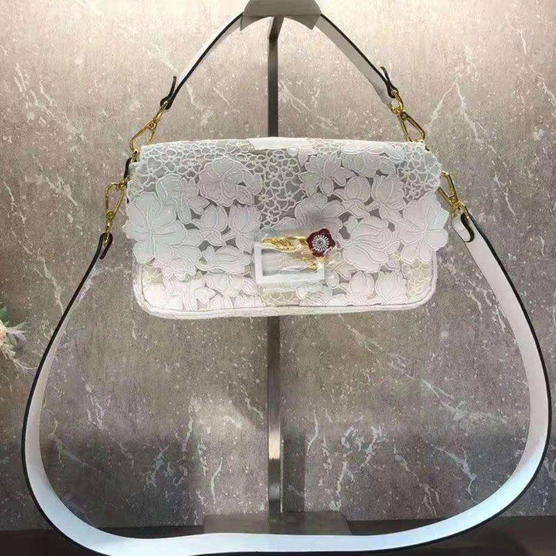 Baguette Handbag Crossbody Bags Patent Leather Embroidery Flower Lace Design Hand Shoulder Bag Fashion F letter Hollow Out Magnetic Hasp Flap Handbags Purse