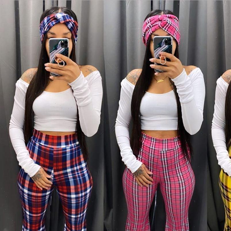 Women Capris Plaid Print High Waisted Flare Pants for Fashion Sexy Bell Bottom Casual Trousers D91 CC26