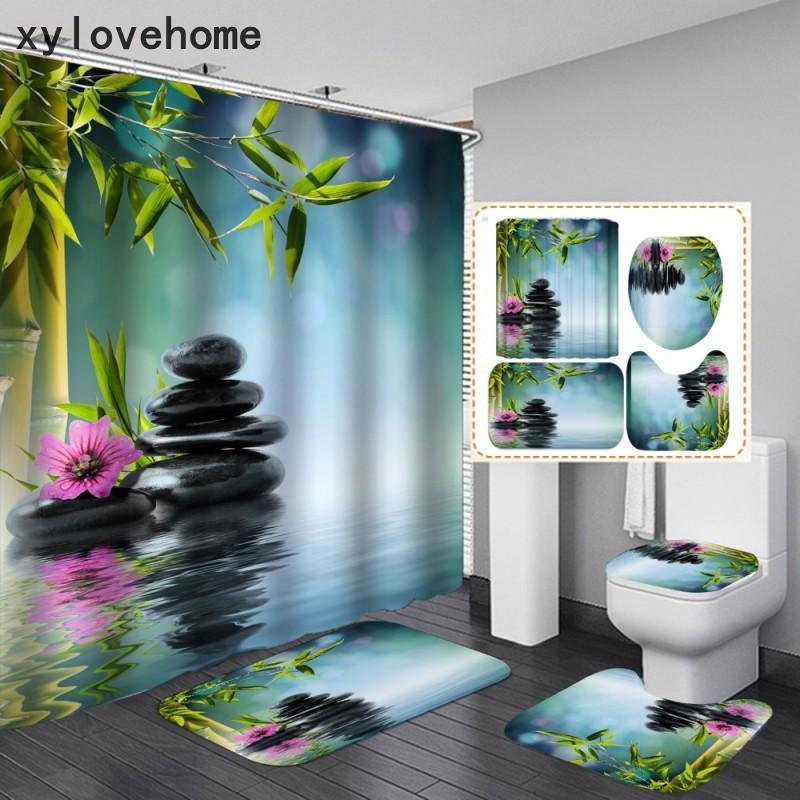 Cortina de ducha de impresión digital 3D 4pcs conjunto plantas de bambú diseño personalizado diseño casero decoración textil cocina cocina baño tapa tapa tapa u forma alfombra alfombra con ganchos