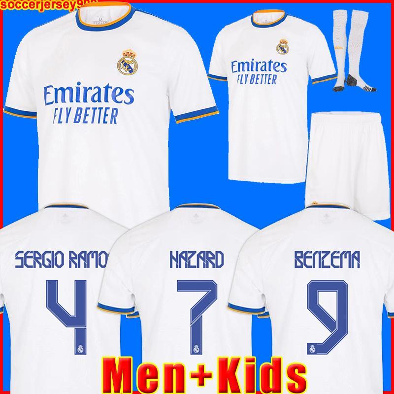 REAL MADRID 유니폼 20 21 축구 유니폼 HAZARD SERGIO RAMOS BENZEMA VINICIUS camiseta 축구 셔츠 유니폼 남성 + 키즈 키트 2020 2021