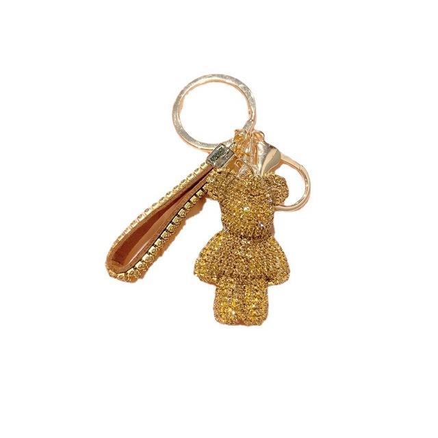 الجملة للجنسين كامل حجر الراين الكرتون الدب الكريستال سلسلة المفاتيح قلادة حقيبة المرأة حقيبة يد المرأة