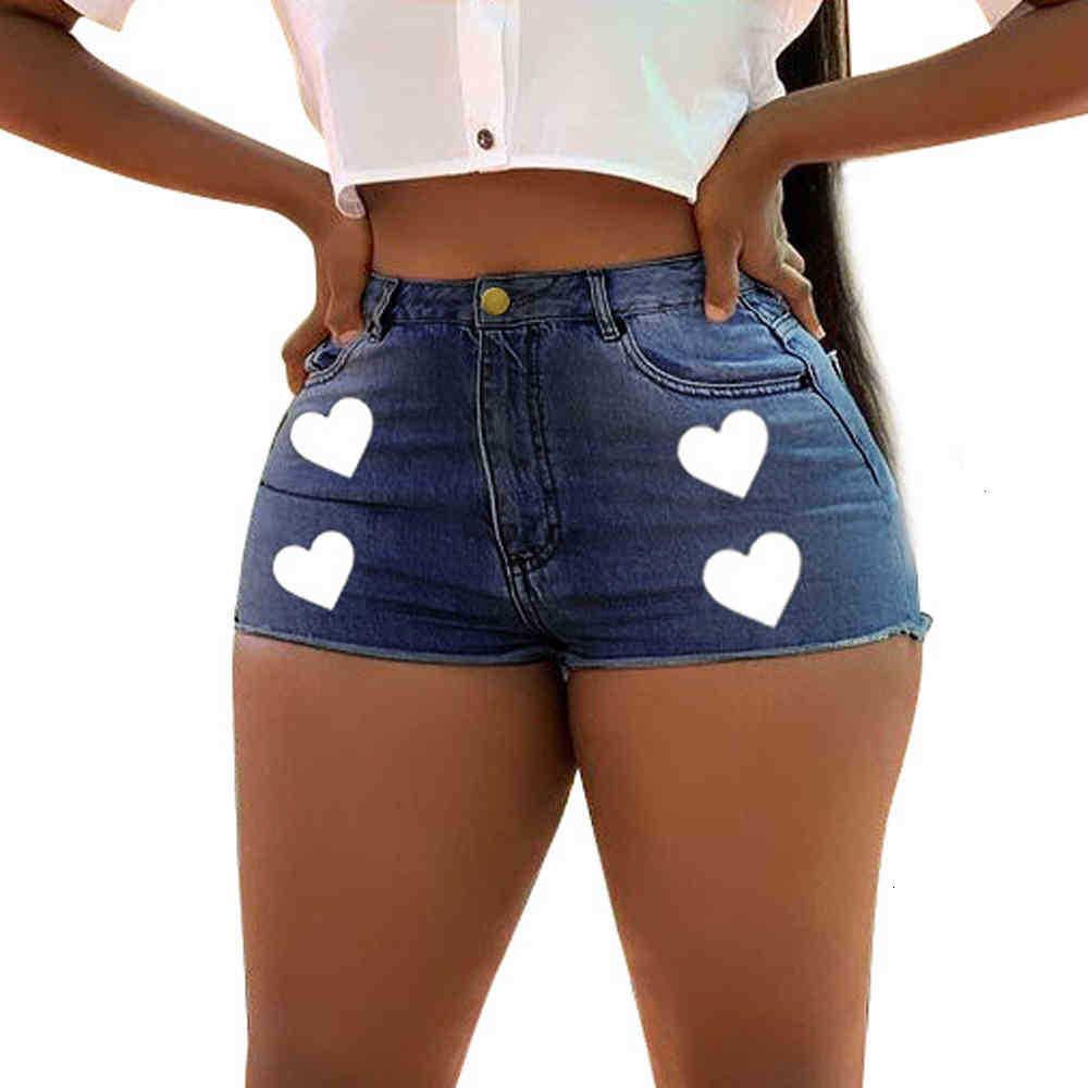 Damen Shorts Shorts Blau Straight Sexy Skinny Denim Frauen Sommer Liebesmuster Dame Baumwolle Mid Taille Kurz Jeans SP33
