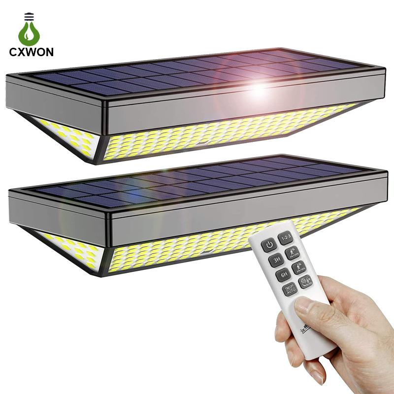 Solar Wall Light 138 LEDs Smart Led Garden Lamps 4 Working Mode Motion Sensor 600LM 3 side Lighting outdoor lights with Remote Control