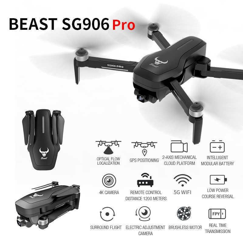 SG906 PRO GPS Drone avec 2 axes ANTI-Shake Stabilisateur Stabilisateur Stabilisateur WiFi FPV Caméra 4K Caméra sans brosse Dronceur Droncateur VS F11 ZEN K1 210607
