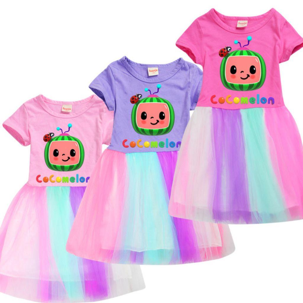 COCOMELLON JJ Erkek Çocuk Pamuk Yaz Kızın Etek Trendy Sevimli Kısa Kollu Gökkuşağı Dantel Elbise Etekler Giyim 110-150 cm G4O9BDS