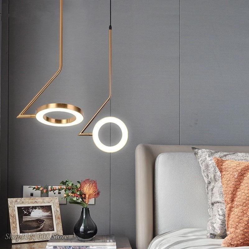 Nordic Pendant Lamps Novelty Aluminum Rings Shine Led Lights Luminaria Modern Bedroom Brass Creative Decor Fixtures