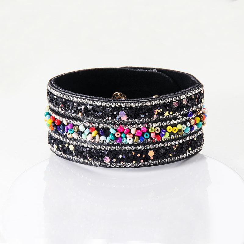 Strands personality Beaded Leather bracelet bohemian color bead