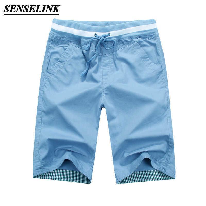 2021 Yaz Yeni Katı Renk Rahat Şort Erkekler Moda Gevşek Plaj Pantolon erkek Pamuk Büyük Boy Tulum Erkekler M-4XL Erkekler Şort X0601