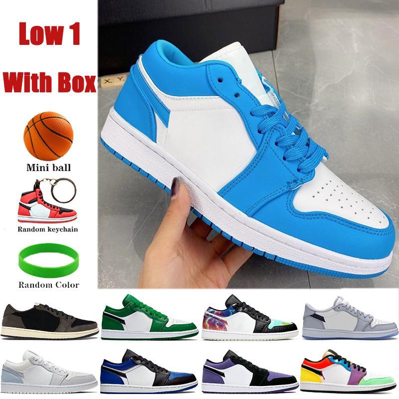 مع مربع منخفضة 1 ثانية رجل كرة السلة أحذية UNC OG SP ترافيس سكوتس باريس غالاكسي الصنوبر الأخضر الرجال النساء أحذية رياضية