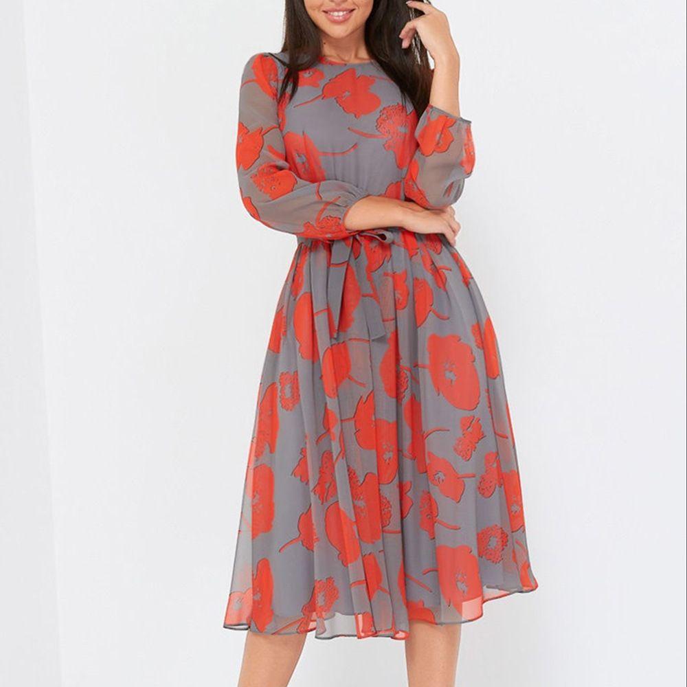 Shyloli Women Casual full Sleeve O-Neck Mid-Calf Long High Waist Elegant Belt Spring New Fashion Dress 210412